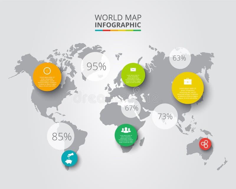 Vektorvärldskarta med infographic beståndsdelar stock illustrationer