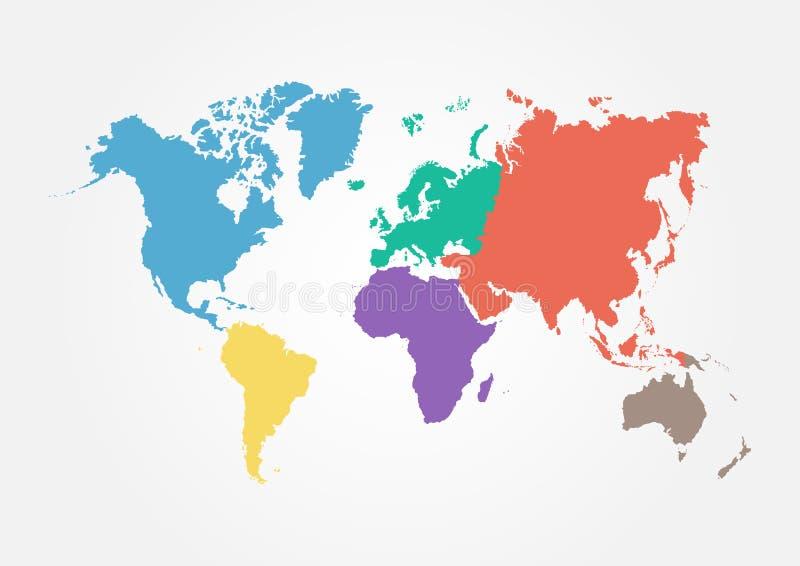 Vektorvärldskarta med kontinenten i olik färg (den plana designen) stock illustrationer