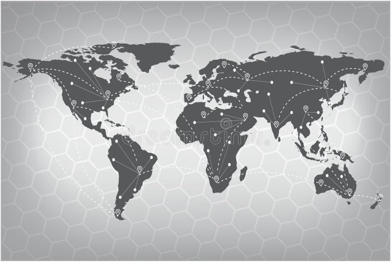 Vektorvärldskartaanslutning Grå liknande världskarta gammal värld för illustrationöversikt royaltyfri illustrationer
