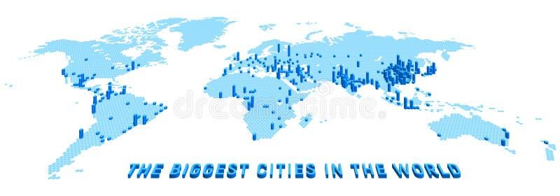 Vektorvärldskartan stiliserade genom att använda sexhörningar med de största städerna stock illustrationer