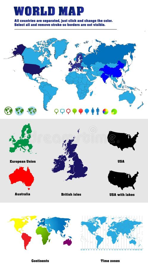 Vektorvärldskartor med beståndsdelar arkivfoto
