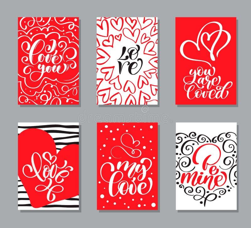 Vektorvalentindagen cards mallar Hand dragen Februari 14 gåvaetiketter, etiketter eller affischsamling Tappningförälskelse stock illustrationer