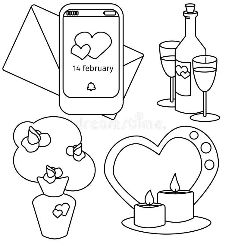 Vektorvalentindagen ställde in bouque, vinranka stearinljus och meddelande vektor illustrationer