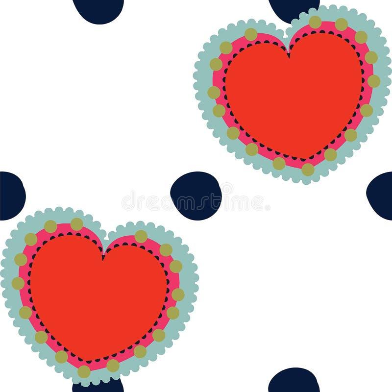 Vektorvalentinsgrüße und nahtloser Musterhintergrund der Tupfen lizenzfreie abbildung