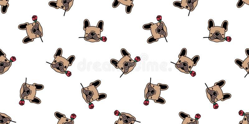 Vektorvalentinsgruß der französischen Bulldogge des Hundestieg nahtloser Musters lokalisierte Wiederholungstapete der Blumenflies vektor abbildung