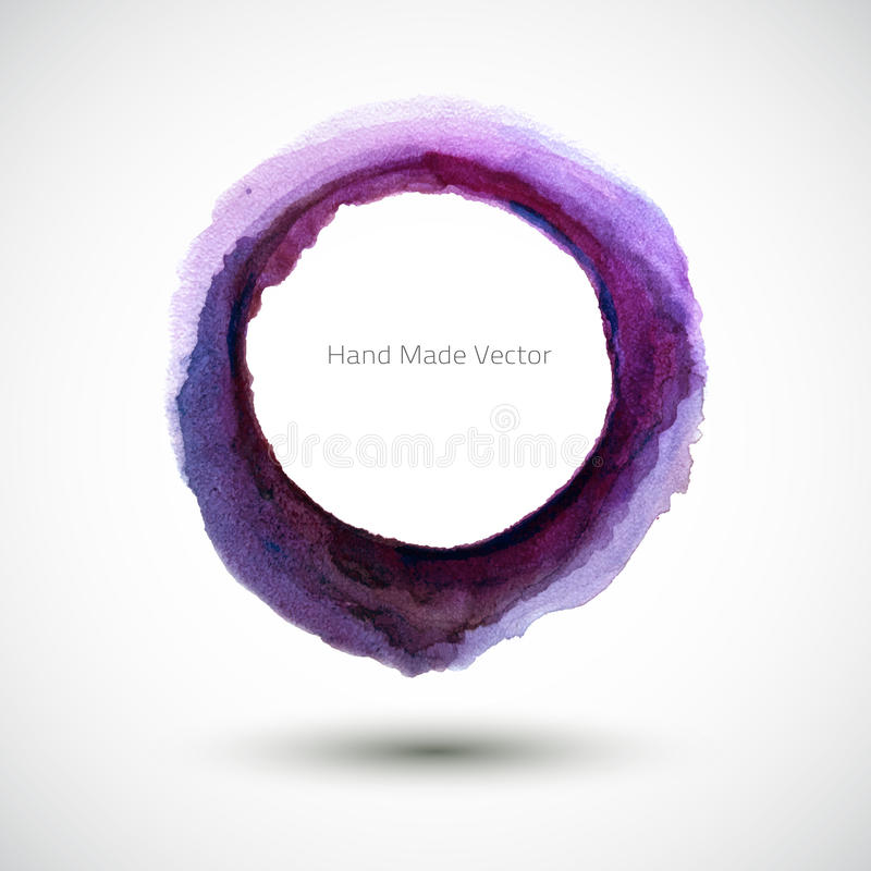 Vektorvattenfärg Violet Round royaltyfri illustrationer
