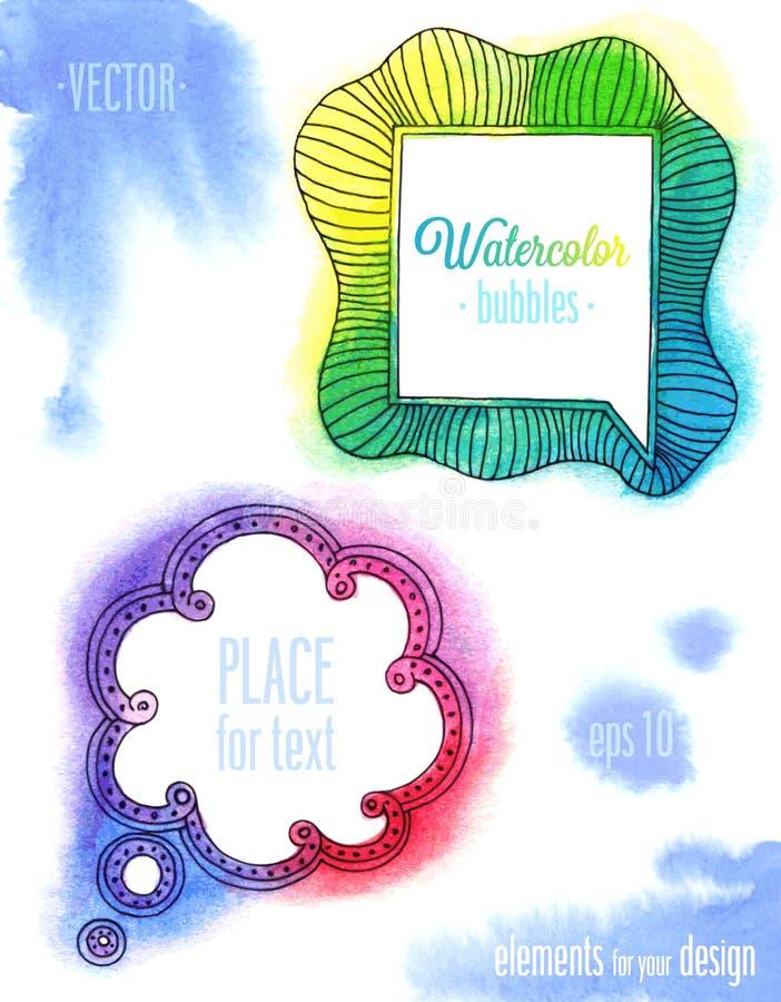 Vektorvattenfärgbubblor stock illustrationer