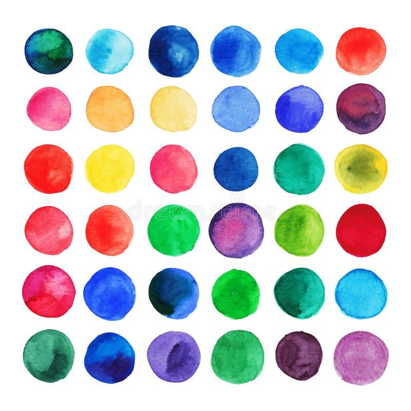 Vektorvattenfärgcirklar Retro hand dragen cirkelprydnad Runda former Geometrisk målad prydnad Runda former Geometrisk målad prydn stock illustrationer