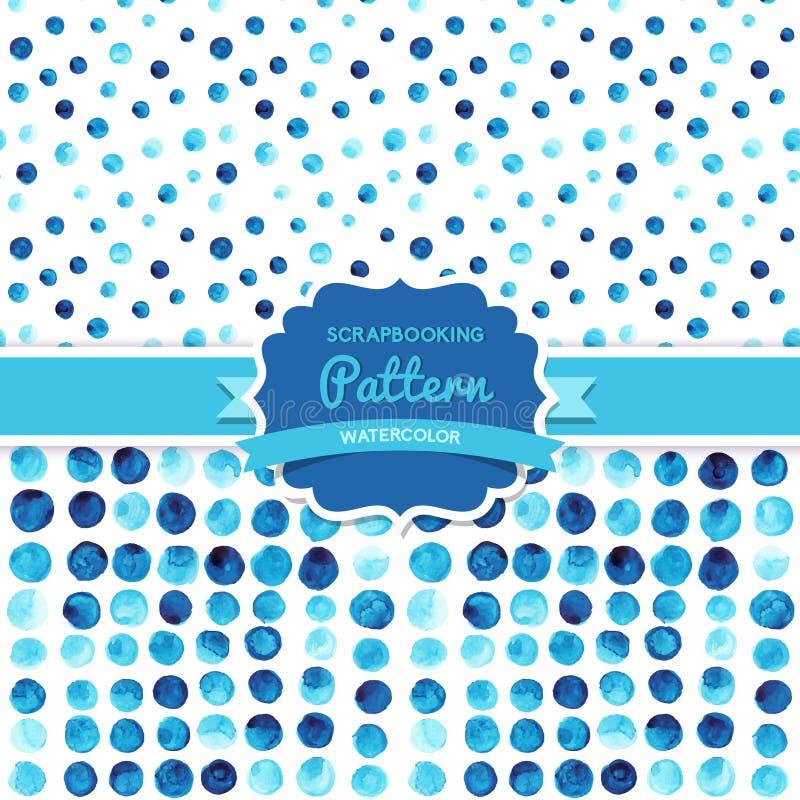 Vektorvattenfärgen cirklar (den belade med tegel) sömlösa modellen, Retro målarfärger stock illustrationer