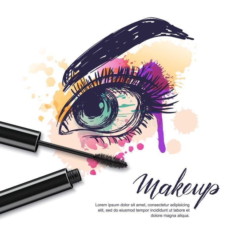 Vektorvattenfärgen skissar illustrationen av färgrik kvinnlig ögon- och makeupmascara mörk paper vattenfärgyellow för forntida ba vektor illustrationer