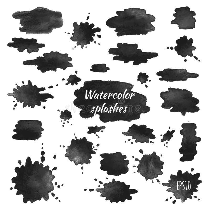 Vektorvattenfärgfärgstänk vektor illustrationer