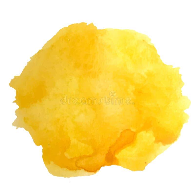 Vektorvattenfärgfärgstänk Abstrakt gul solig fläckbakgrund vektor illustrationer
