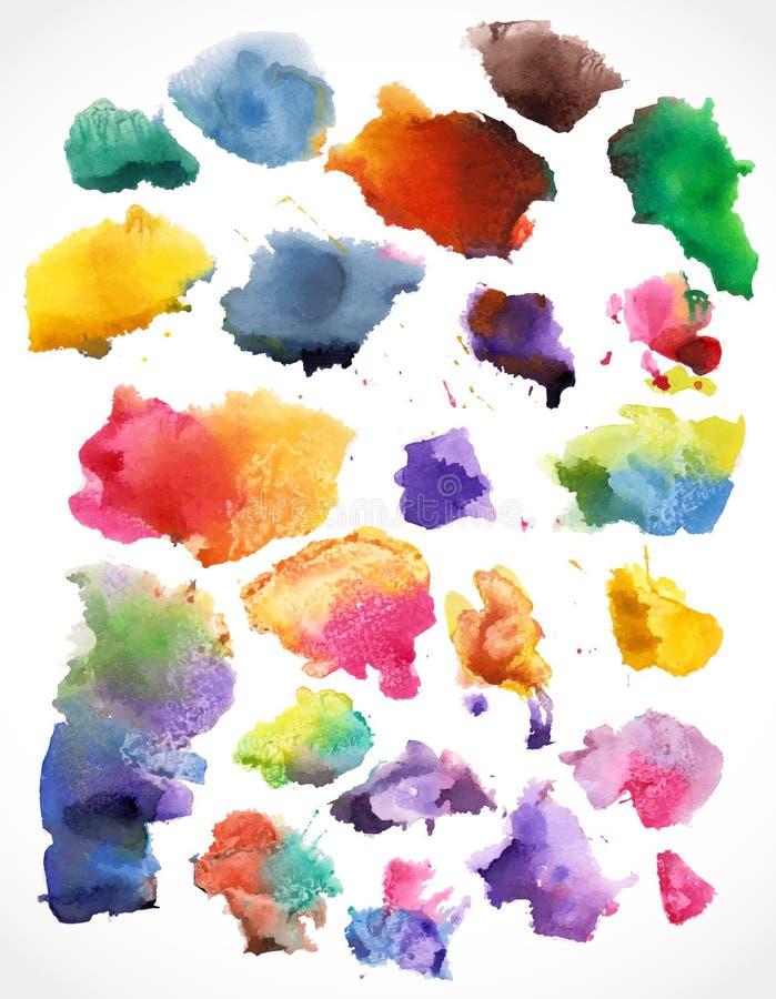 Vektorvattenfärgfärgstänk som isoleras. vektor illustrationer