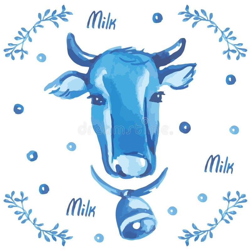 Vektorvattenfärgillustration Huvud av en ko med en klocka Mjölka och den blom- prydnaden royaltyfri illustrationer