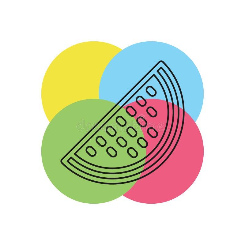 Vektorvattenmelon, vattenmelonskivafrukt royaltyfri illustrationer