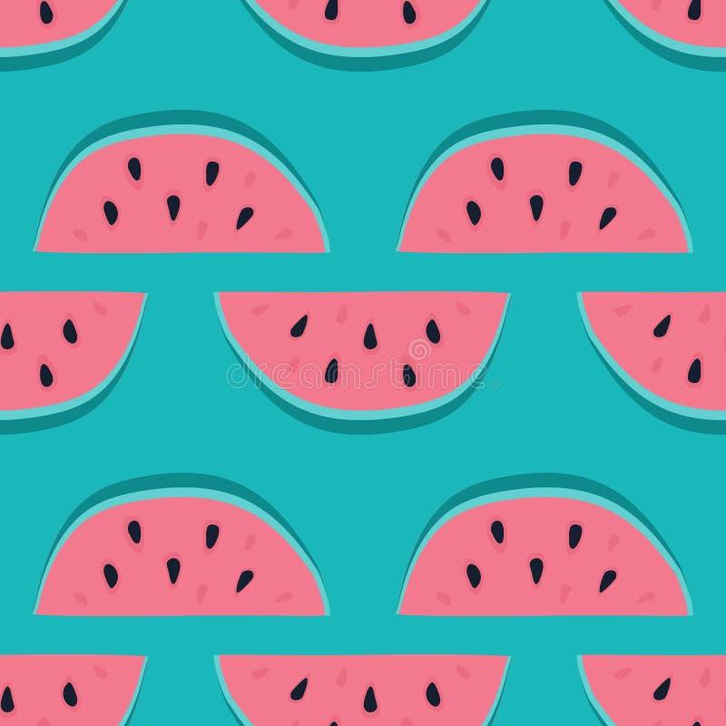 Vektorvattenmelonbakgrund med svart frö Sömlös vattenmelonmodell Vektorbakgrund med vattenfärgvattenmelonskivor royaltyfri illustrationer