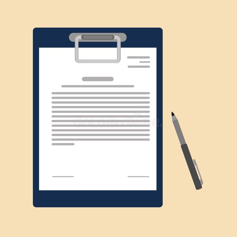 Vektorvereinbarungsikone in der flachen Art - Vertrag und Stift Papierabkommenvertragsikonen-Vereinbarungsstift auf flacher Gesch lizenzfreie abbildung