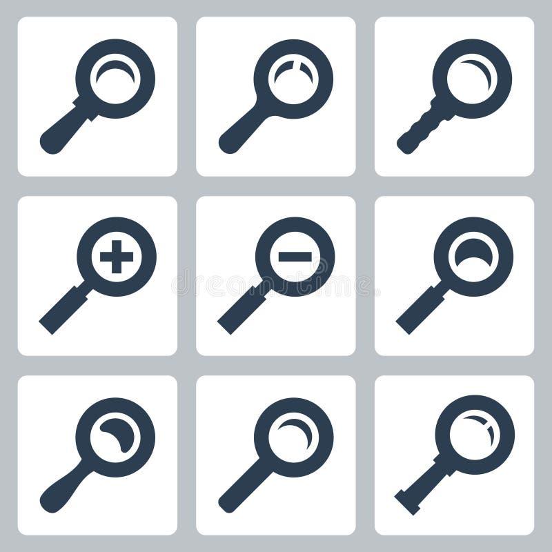 Vektorvergrößerungsglas-Glasikonen eingestellt: Suche, Zoom lizenzfreie abbildung