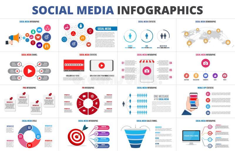 Vektorverkäufe konzentrieren, Statistik, Karte, on-line-- Video-chanel und Stifte Infographic Satz des Social Media Darstellungsd lizenzfreie abbildung