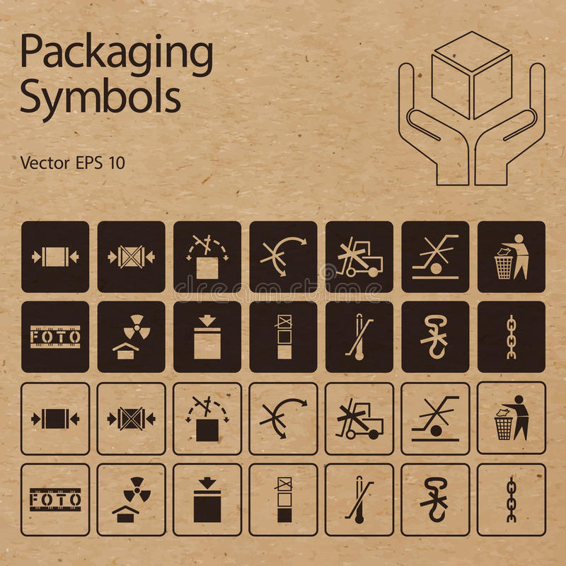 Vektorverpackungssymbole auf Vektorpapphintergrund vektor abbildung