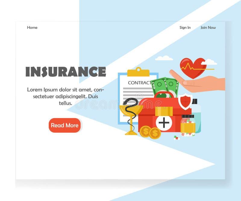 Vektorversicherungswebsitelandungsseiten-Entwurfsschablone lizenzfreie abbildung