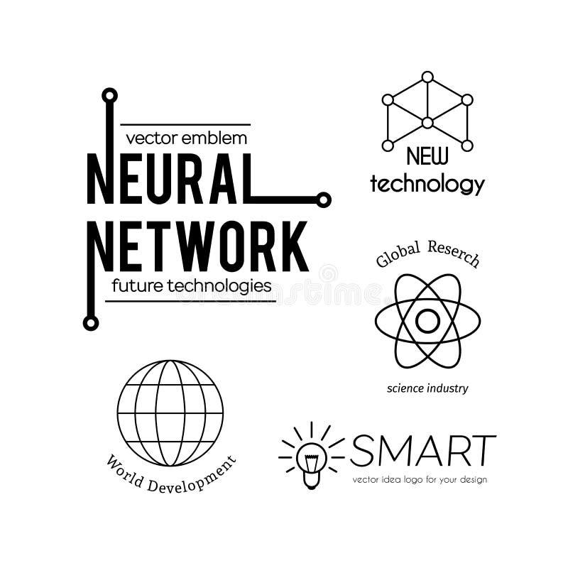Vektorvetenskap och ny tekniklogouppsättning royaltyfri illustrationer