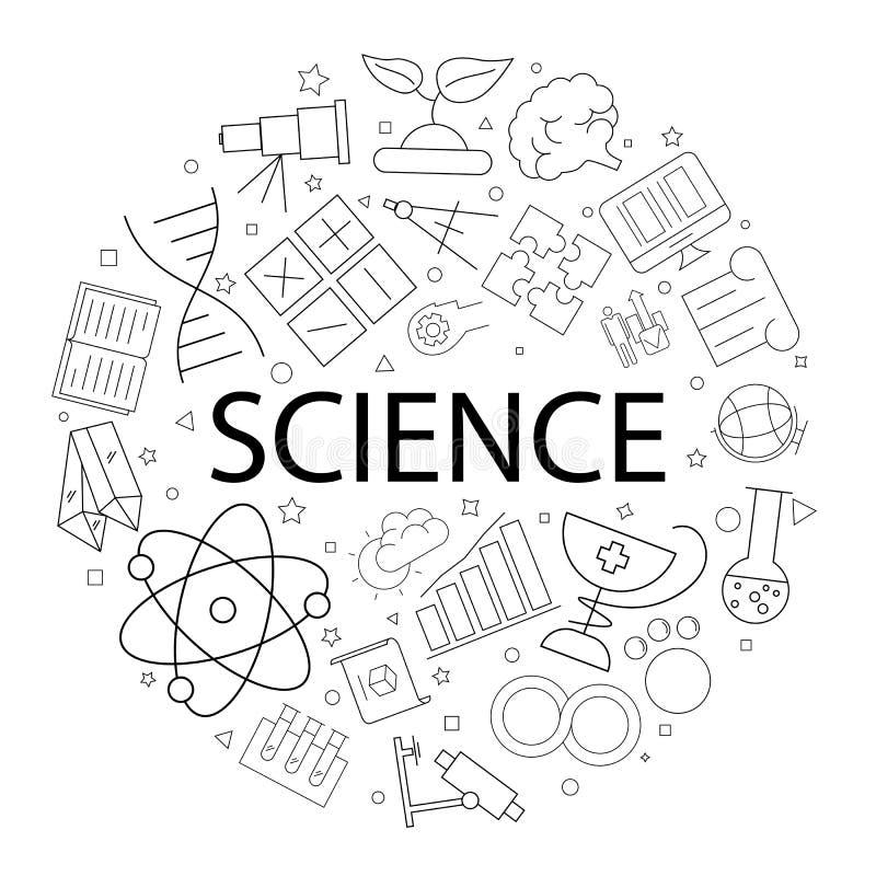 Vektorvetenskapsmodell med ord Innovativ forskning för vetenskaplig kemi arkivbilder
