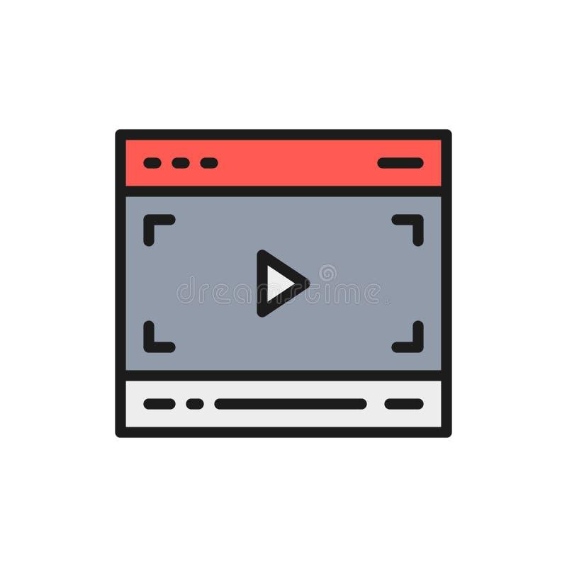 Vektorvideo-player auf Browser, Multimedia paginieren flache Farblinieikone lizenzfreie abbildung