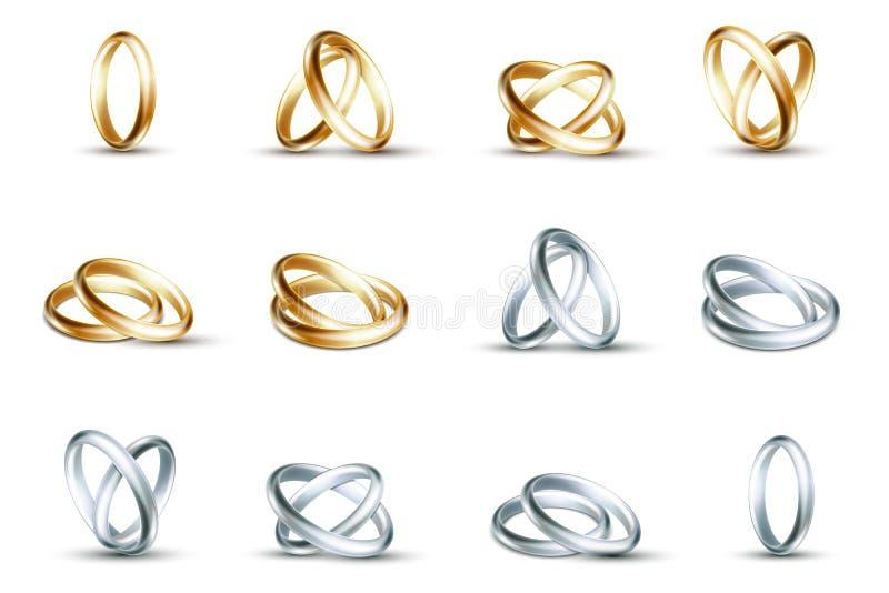 Vektorvigselringar Guld- och silvercirkel på vit bakgrund vektor illustrationer