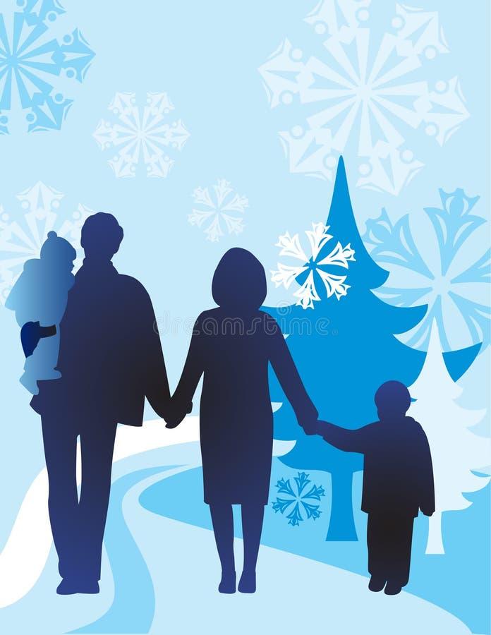 vektorvinter för familj fyra stock illustrationer