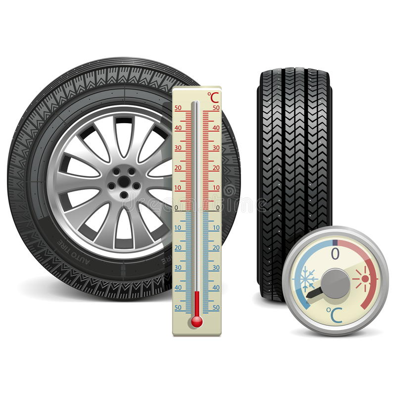 Vektorvintergummihjul och termometer stock illustrationer