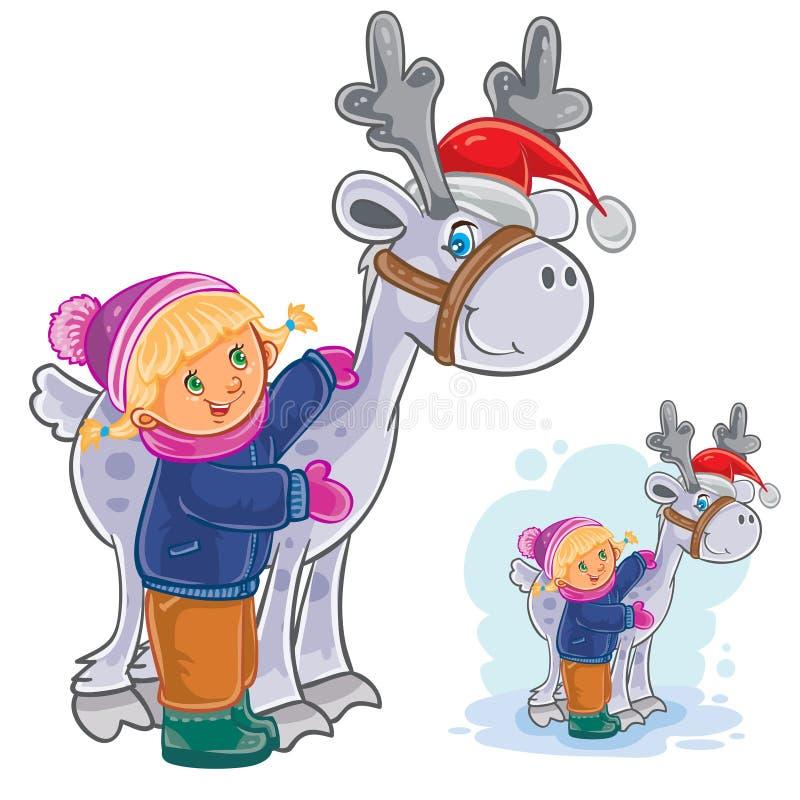 Vektorvinterjul, illustration för nytt år av lilla flickan som kramar hjortar Santa Claus stock illustrationer