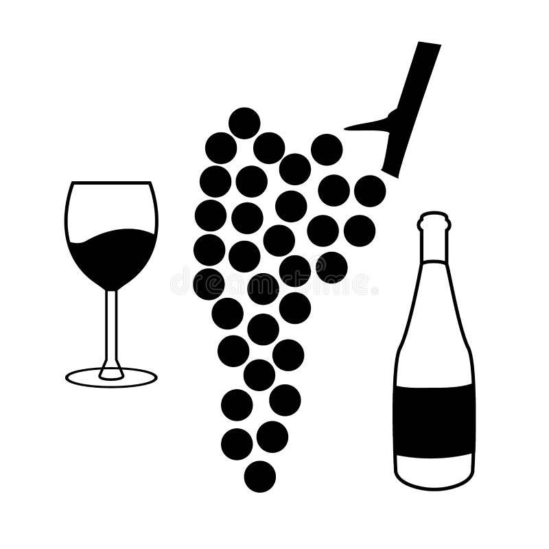 Vektorvinuppsättning av symboler - druvor, flaska och exponeringsglas royaltyfri illustrationer