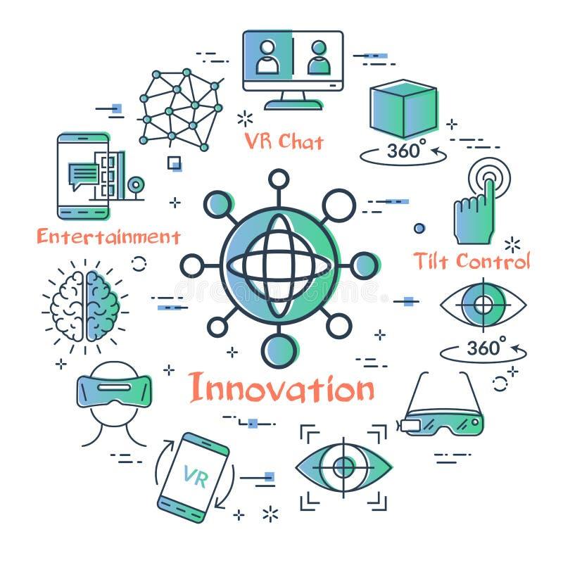 Vektorvirtuell verklighetbegrepp - VR-innovation stock illustrationer