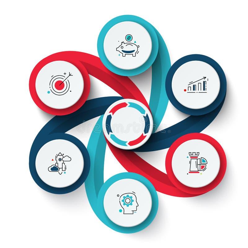 Vektorvirvelbeståndsdelar för infographic Mall för cirkuleringsdiagram, graf, presentation och diagram Affärsidé med vektor illustrationer