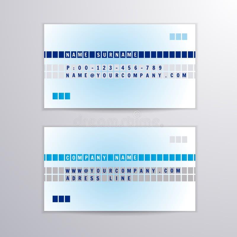 VektorVisitenkarte mit blauer und grauer Zeile vektor abbildung