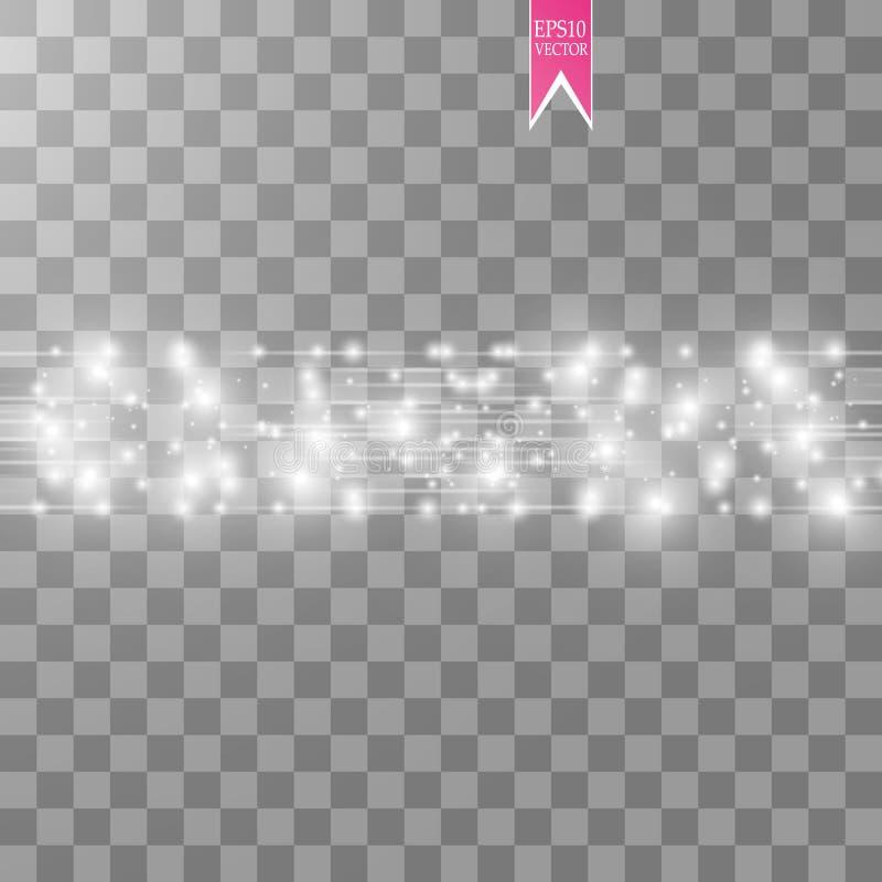 Vektorvit blänker vågabstrakt begreppillustrationen Mousserande partiklar för vit slinga för stjärnadamm och hastighetslinjer som vektor illustrationer