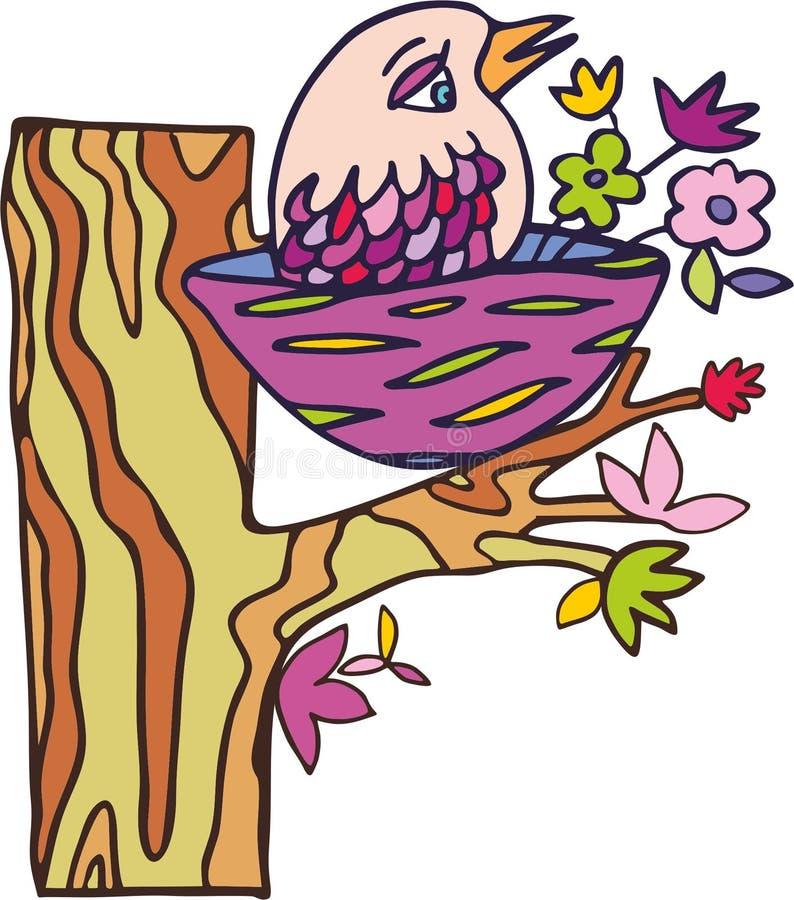 Vektorvogel auf dem Baum stockfotografie