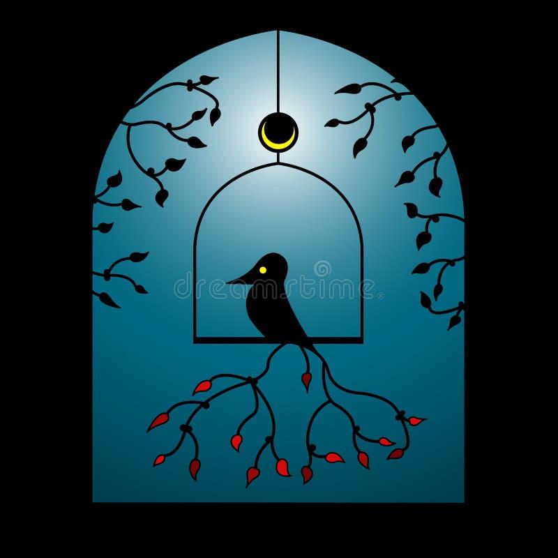 Vektorvogel in einem Fenster stockbilder