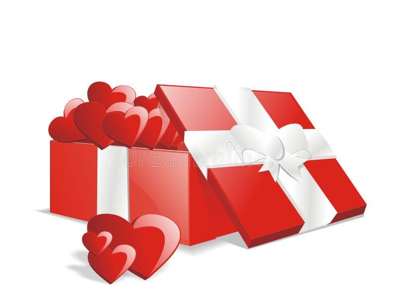 Vektorvoller Liebesgeschenk-Geschenkkasten vektor abbildung