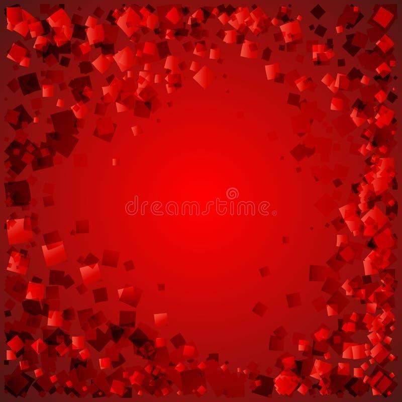 Vektorvykort av röda diamanter på en blodig bakgrund med förälskelse stock illustrationer