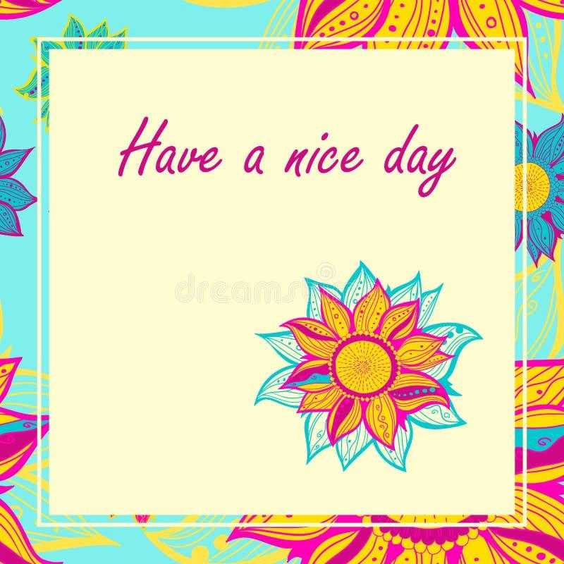 Vektorvykort med blommor Ha en trevlig dag royaltyfri illustrationer