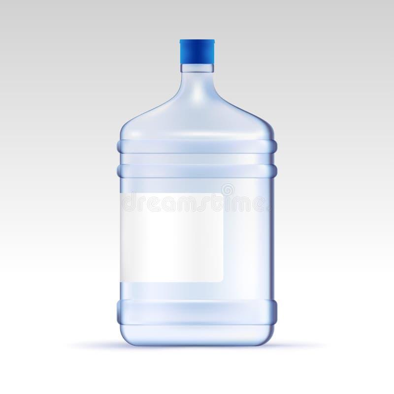 Vektorwasser für Kühlvorrichtung Große transparente Flasche für Büro Netter junger Lieferbote, der einen Wasserkrug hält, während vektor abbildung
