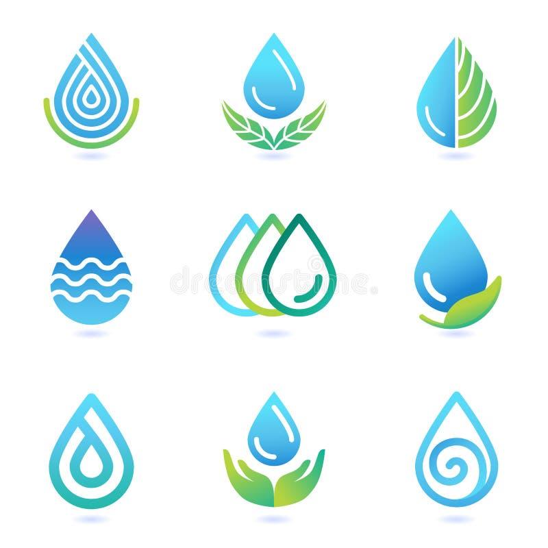 Vektorwasser- und -öllogogestaltungselemente stock abbildung