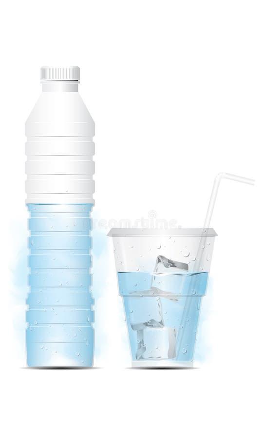 Vektorwasserflasche mit Glas und Eis lizenzfreie abbildung