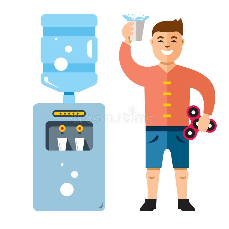 Vektorwasserspender und -mann Flache Art bunte Karikaturillustration stock abbildung