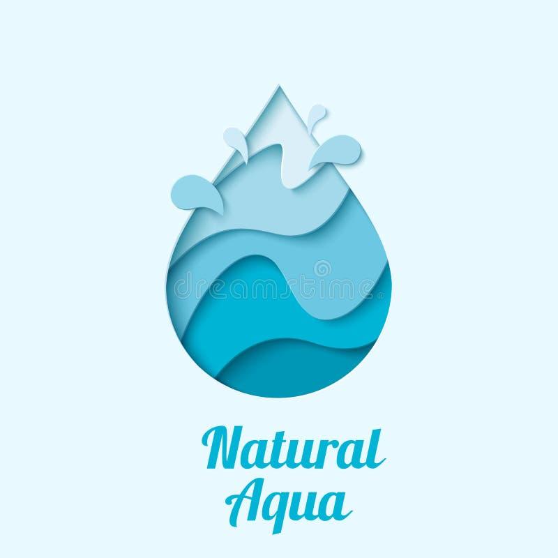 Vektorwassertropfenlogo-Designschablone lizenzfreie abbildung