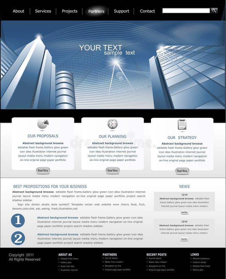 Vektorweb site mit dem Aufbauen für Geschäft lizenzfreie abbildung