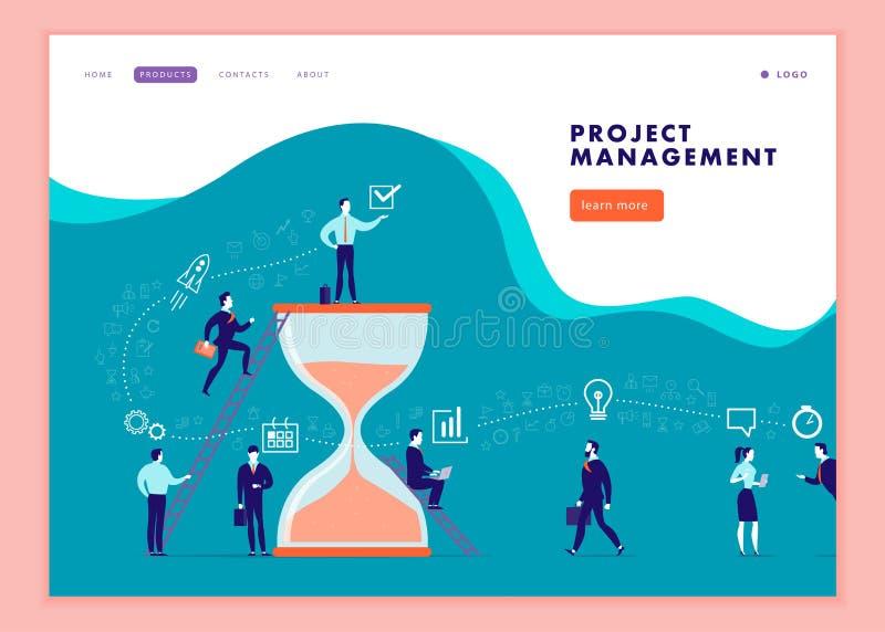 Vektorwebbsidamall för affärskommunikationen, workflow som konsulterar direktanslutet, tidledning, lagarbete vektor illustrationer