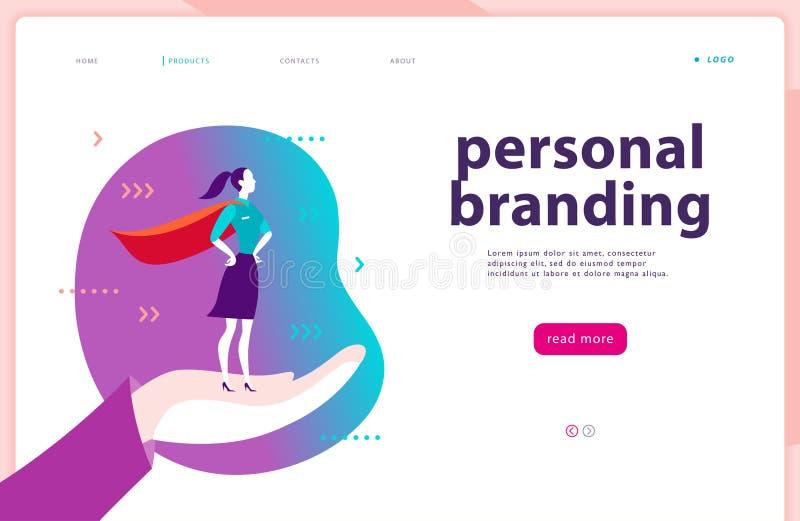 Vektorwebbsidamall - personligt brännmärka, affärskommunikation och att konsultera och att planera Landa sidadesign royaltyfri illustrationer